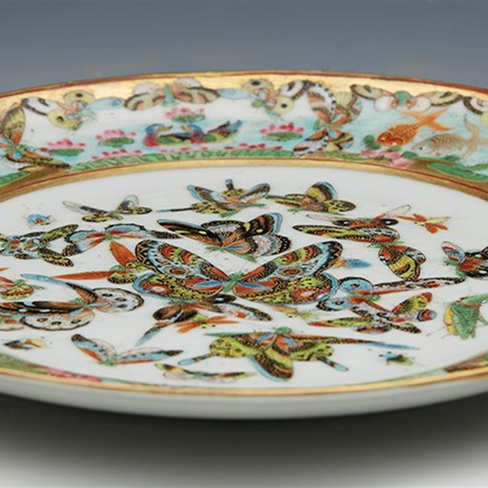 Exceptional Antique Chinese Daoguang Butterfly & Insect Plate 19th C.