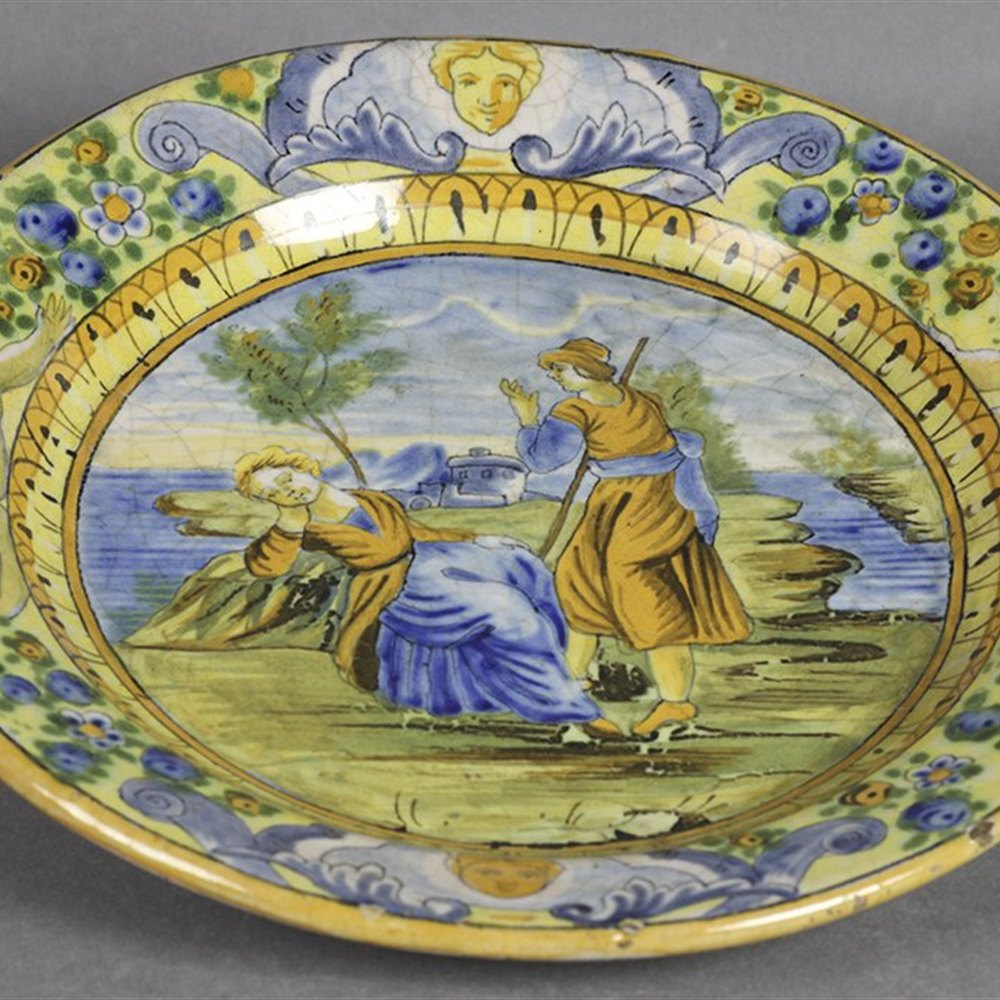Superb Antique Italian  Urbino Istoriato Maiolica Plate Cantagalli? 19th C.