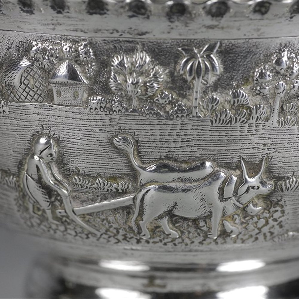 Superb Antique South East Asian Silver Bowl With Farming Scenes c.1900