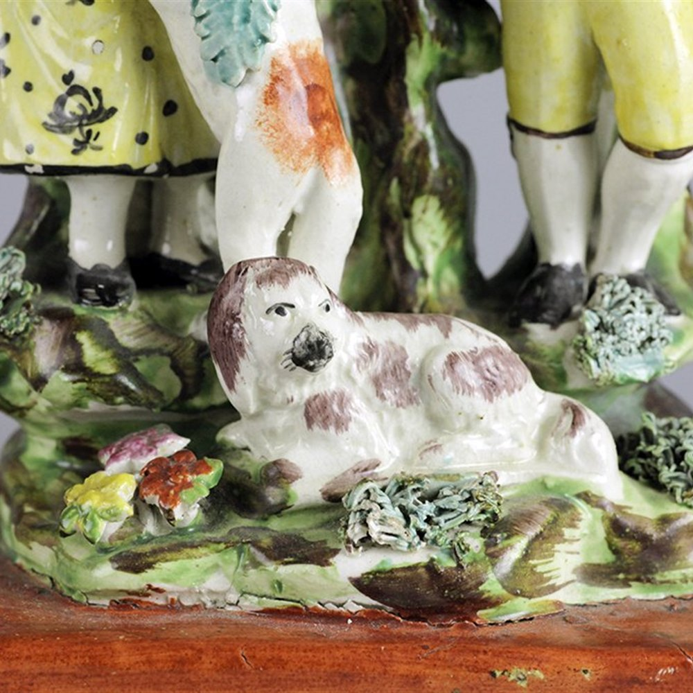 STAFFORDSHIRE PEARLWARE FIGURE GROUP Early 19th Century