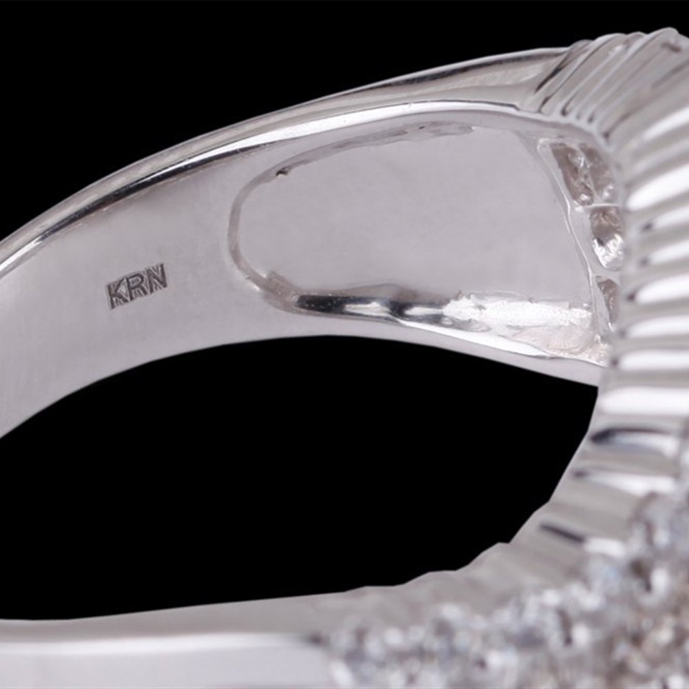 18k White Gold 18k White Gold Wave Diamond Half Eternity Ring