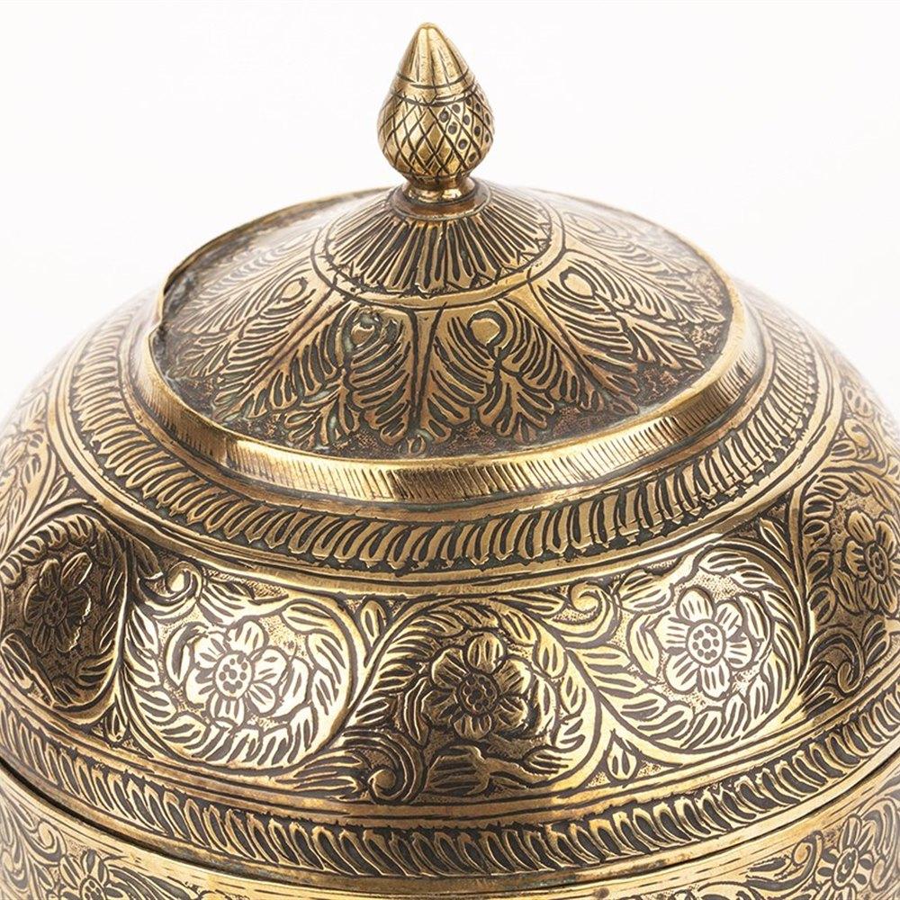 INDIAN BRASS LIDDED JAR 19th Century