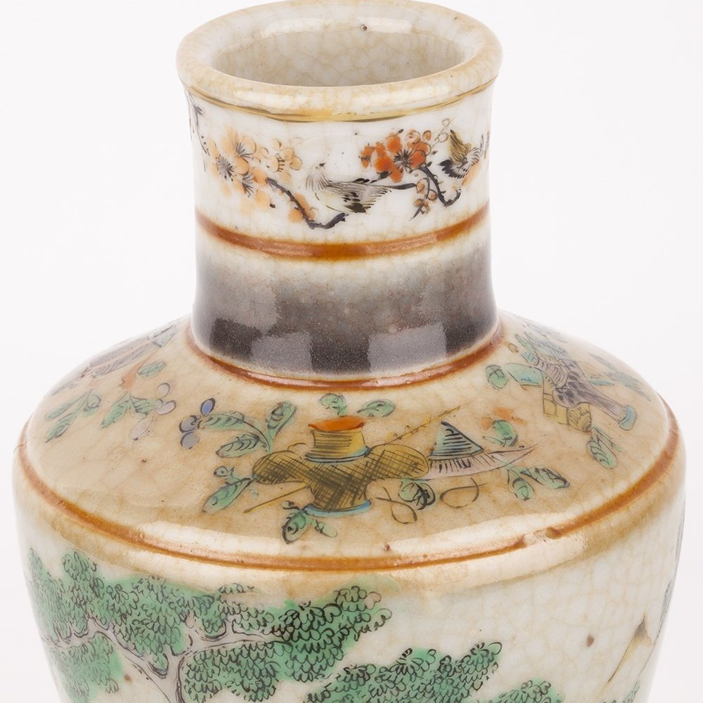 Antique Chinese Xuantong Mark & Period Cracquelware Figural Vase 1909-11