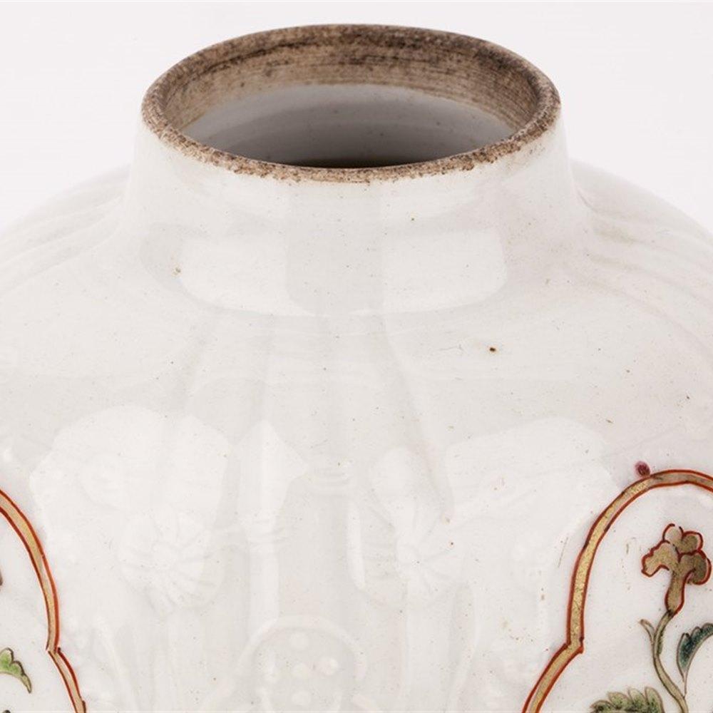 QIANLONG TEAPOY WITH MEISSEN FLOWERS Qianlong Circa 1760