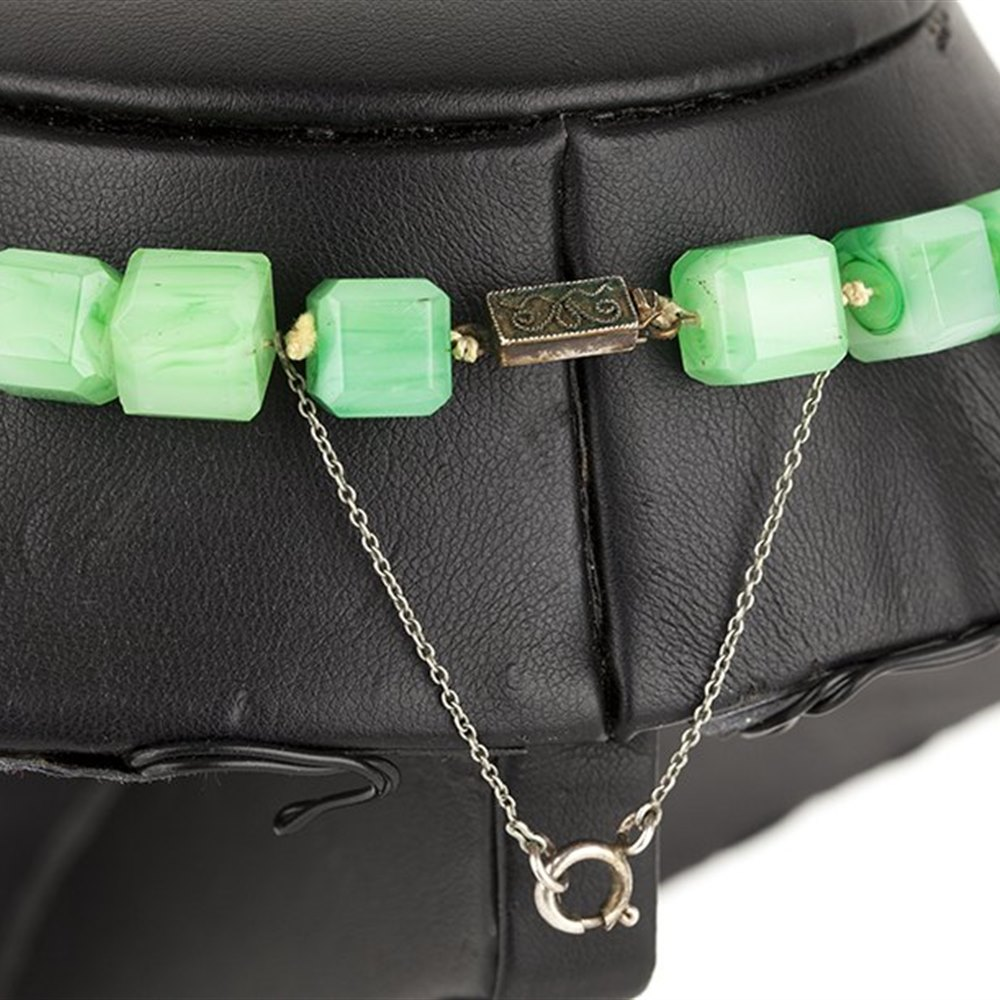 Unusual Antique Chinese Green Jade Cube Cut Necklace With Silver Clasp c.1900