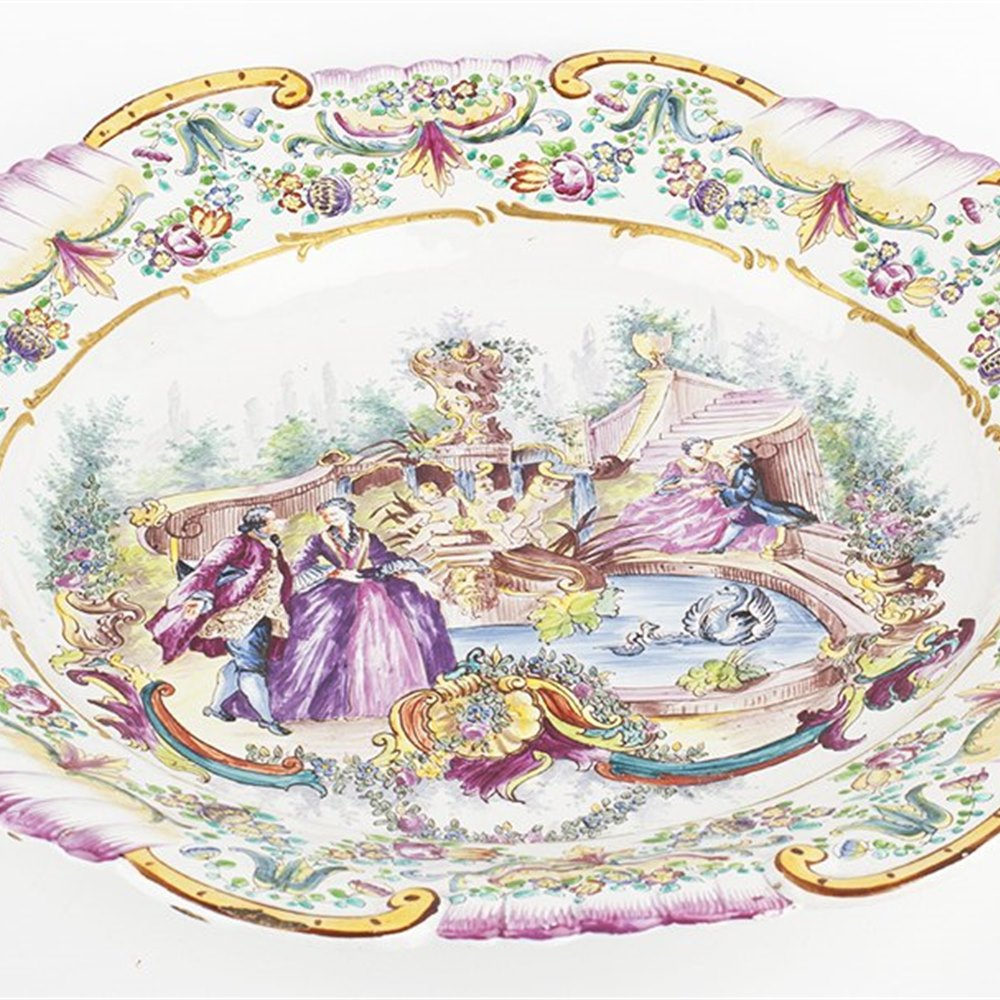 ITALIAN PAINTED DISH 18TH C. Believed 18th Century