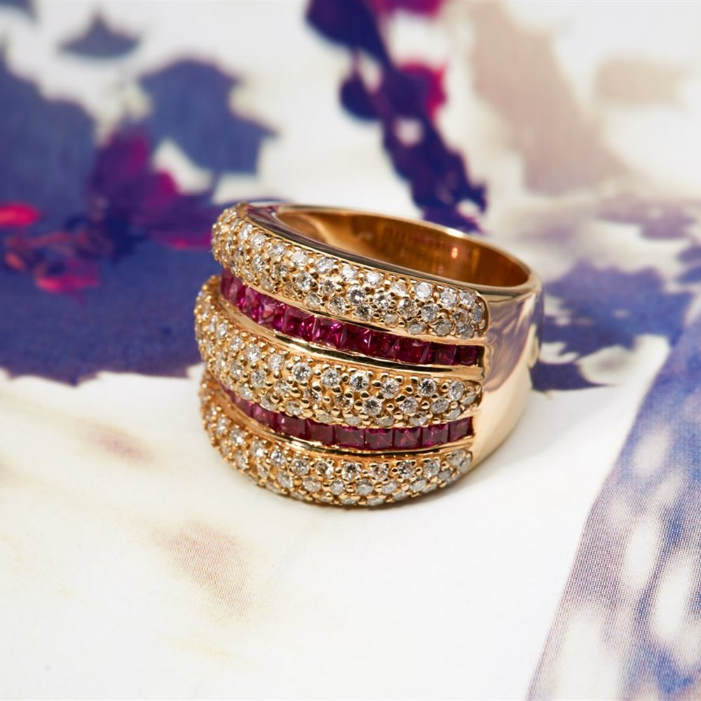 18K Yellow Gold 18K Yellow Gold Ruby & Diamond Pave Wide Band Ring