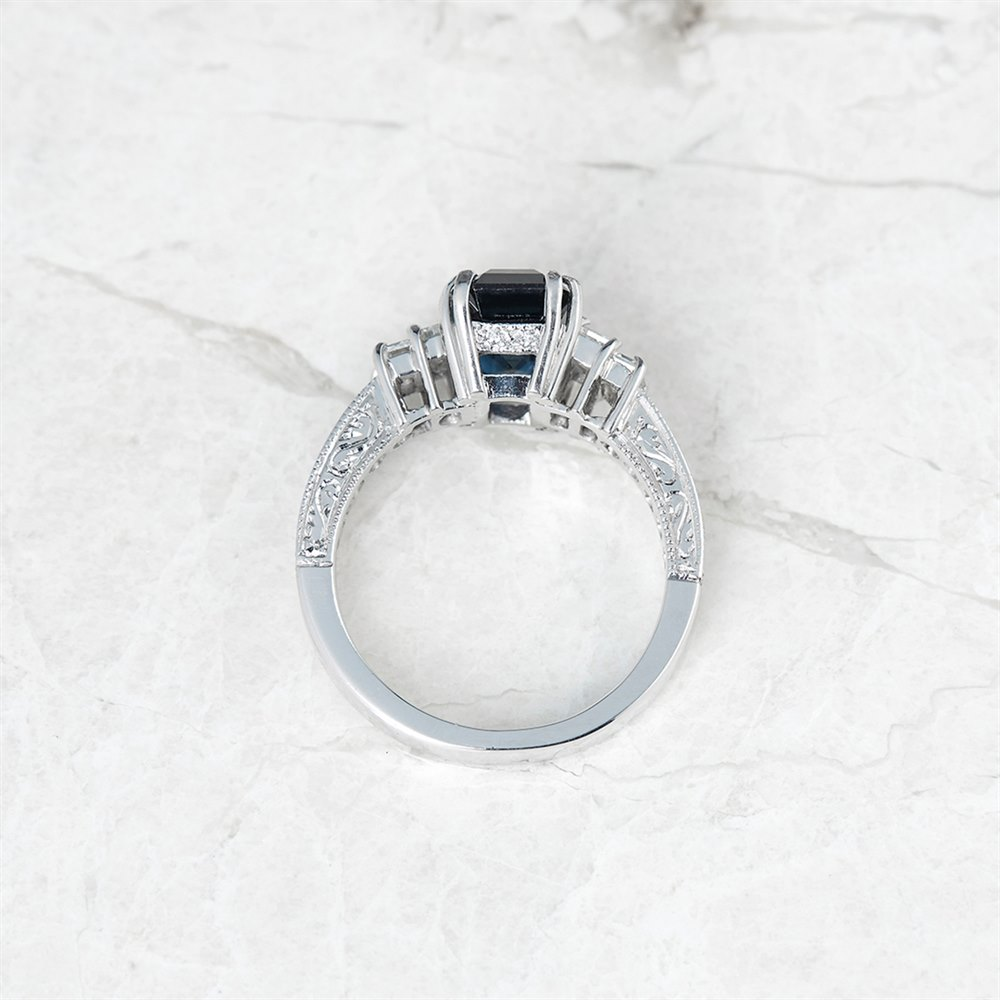 Sapphire 18k White Gold GIA Certified Step Cut Sapphire & Diamond Ring