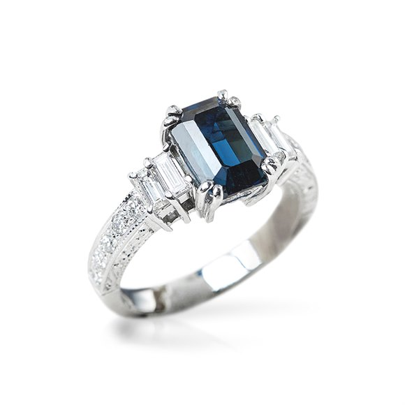 18k White Gold GIA Certified Step Cut Sapphire & Diamond Ring