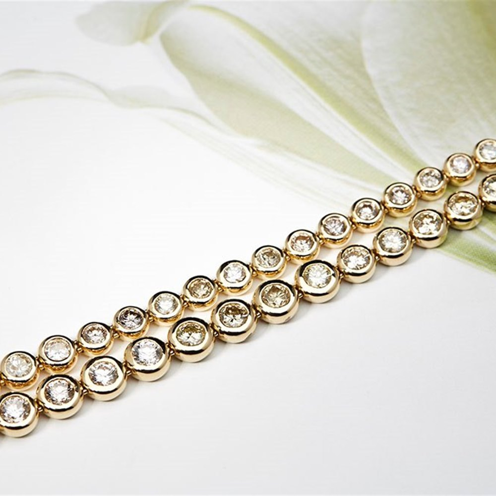18K Yellow Gold 18K Yellow Gold 10.00 cts Brilliant Cut Diamond Tennis Necklace