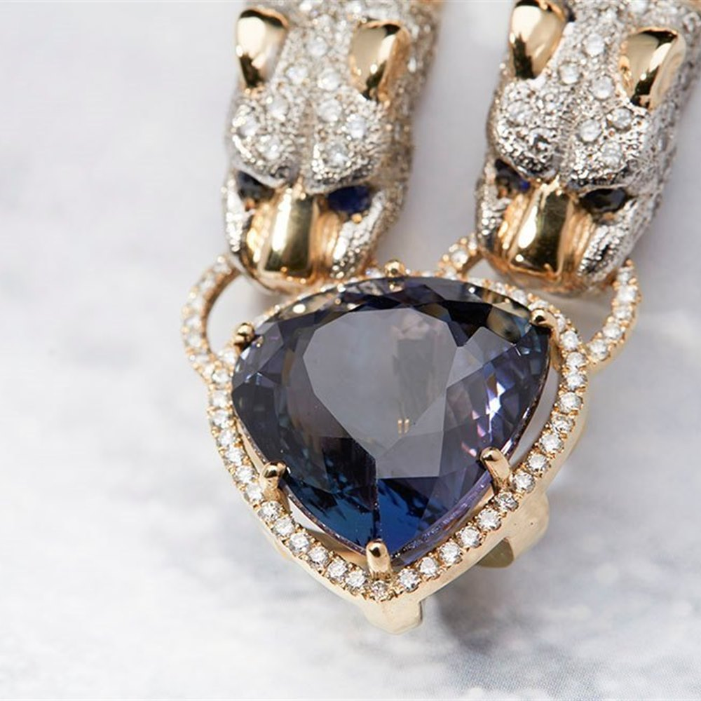 14K Yellow Gold 14K Yellow Gold Italian GIA Natural 34.36 cts Tanzanite & Diamond Panther Necklace