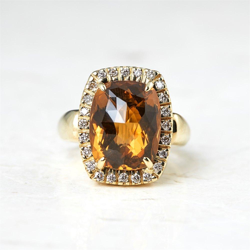 Citrine  14k Yellow Gold 6.00ct Citrine & 0.40ct Diamond Ring