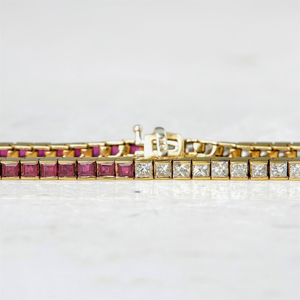 Ruby  18k Yellow Gold 3.50ct Ruby & 3.50ct Diamond Tennis Bracelet