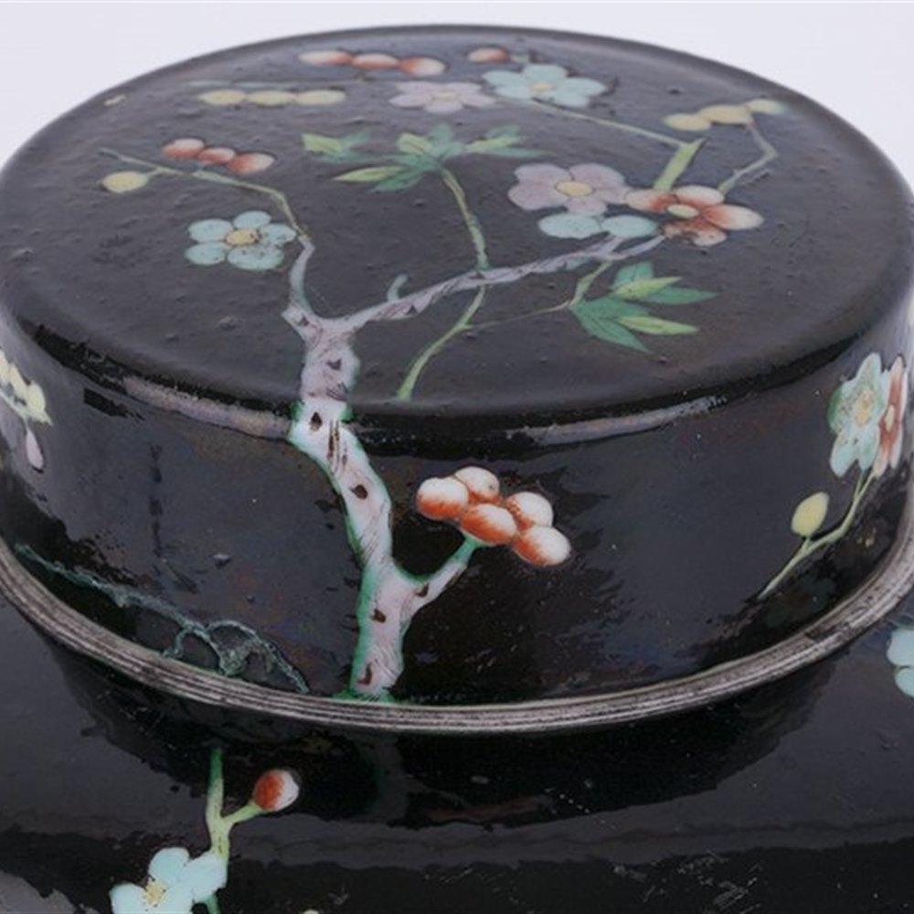 Antique Chinese Famille Noir Flowering Prunus Design Jar Kangxi Mark 19th C.
