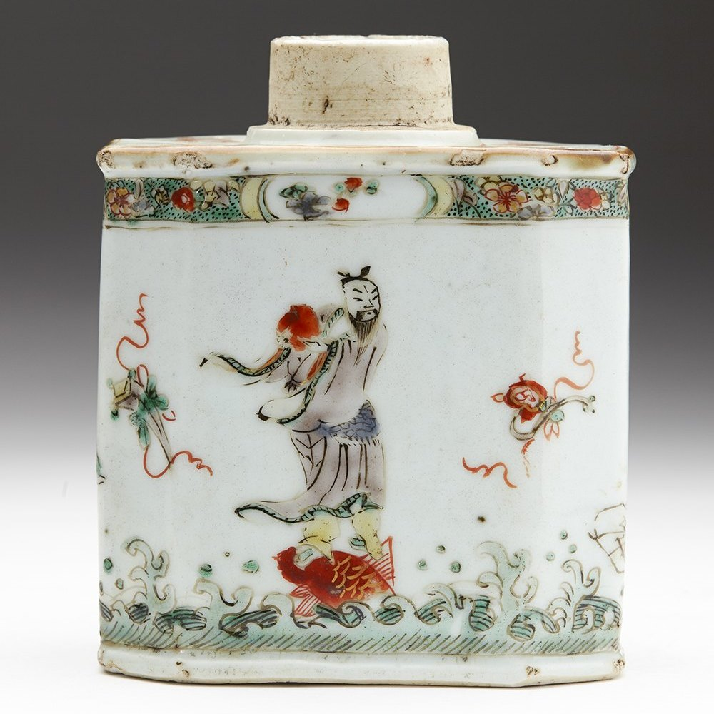 KANGXI POLYCHROME TEAPOY Dates from the early Kangxi period 1662 to 1722