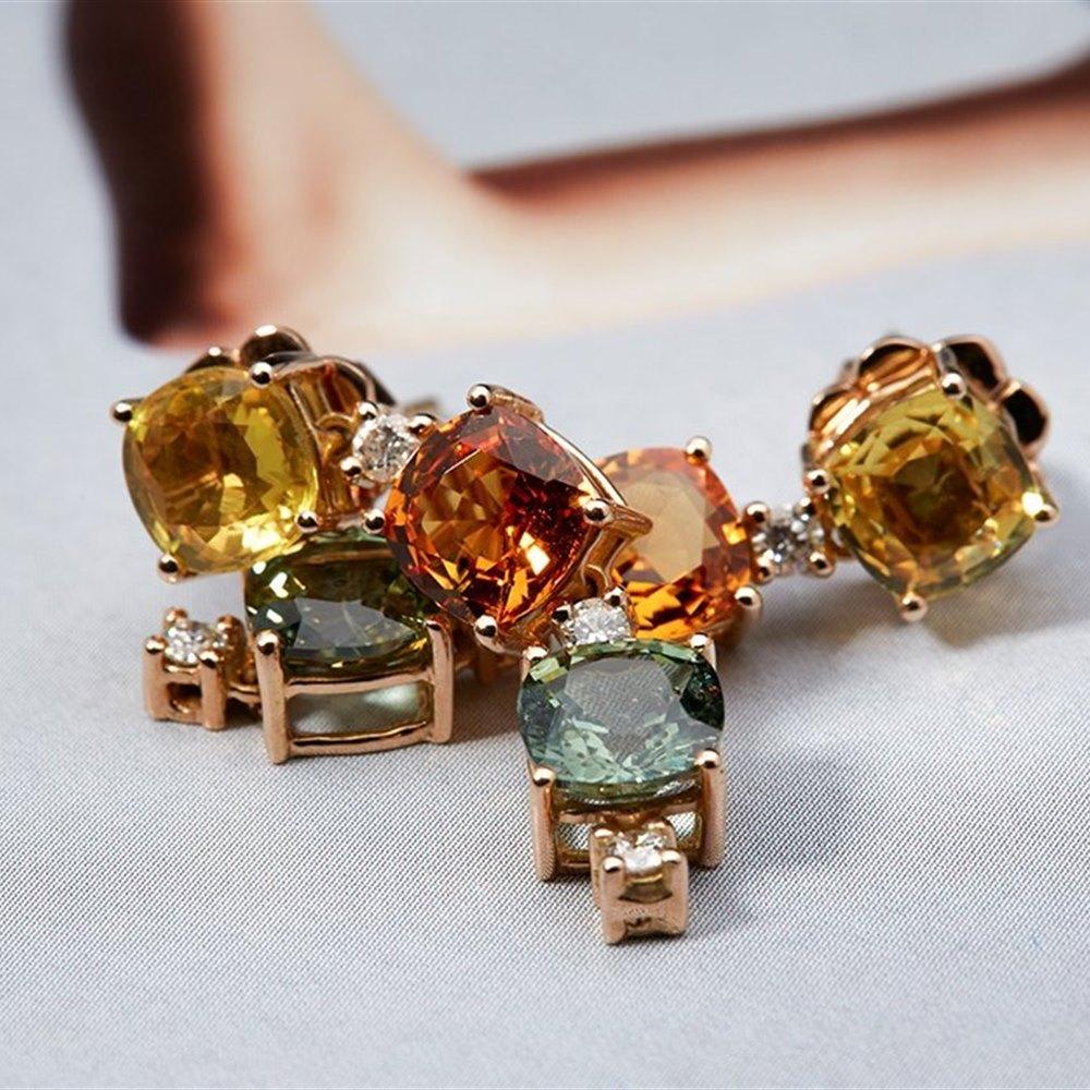 18K Rose Gold 18K Rose Gold 8.15 cts Sapphire/Diamond Earrings