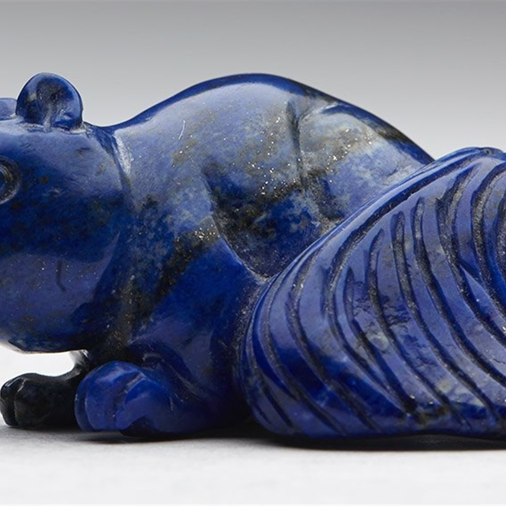 Delightful Vintage Chinese Carved Lapis Lazuli Squirrel Figure 20th C.