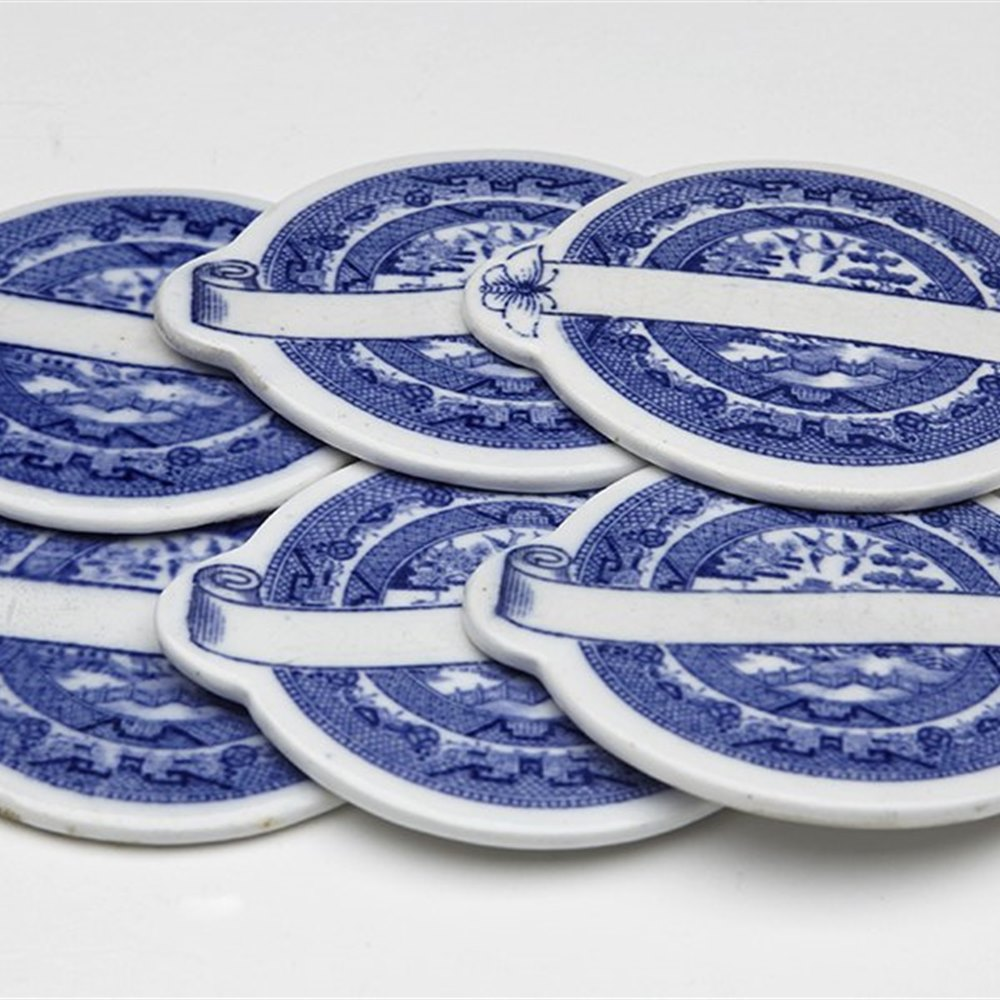 Rare Antique Set Minton Blue & White Willow Pattern Place Name Markers 1875