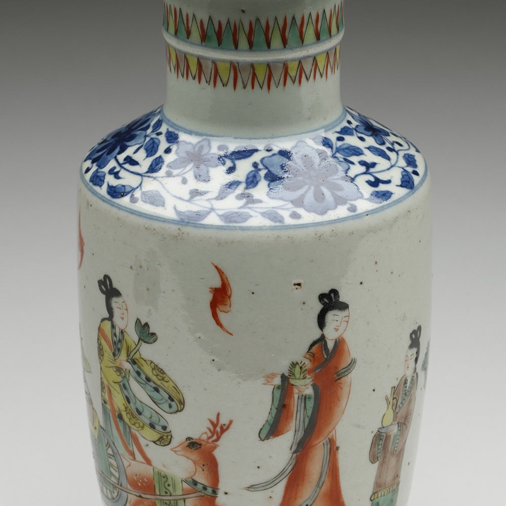 Stylish Chinese Famille Verte Rouleau Vase With Figural Designs 19/20th C.