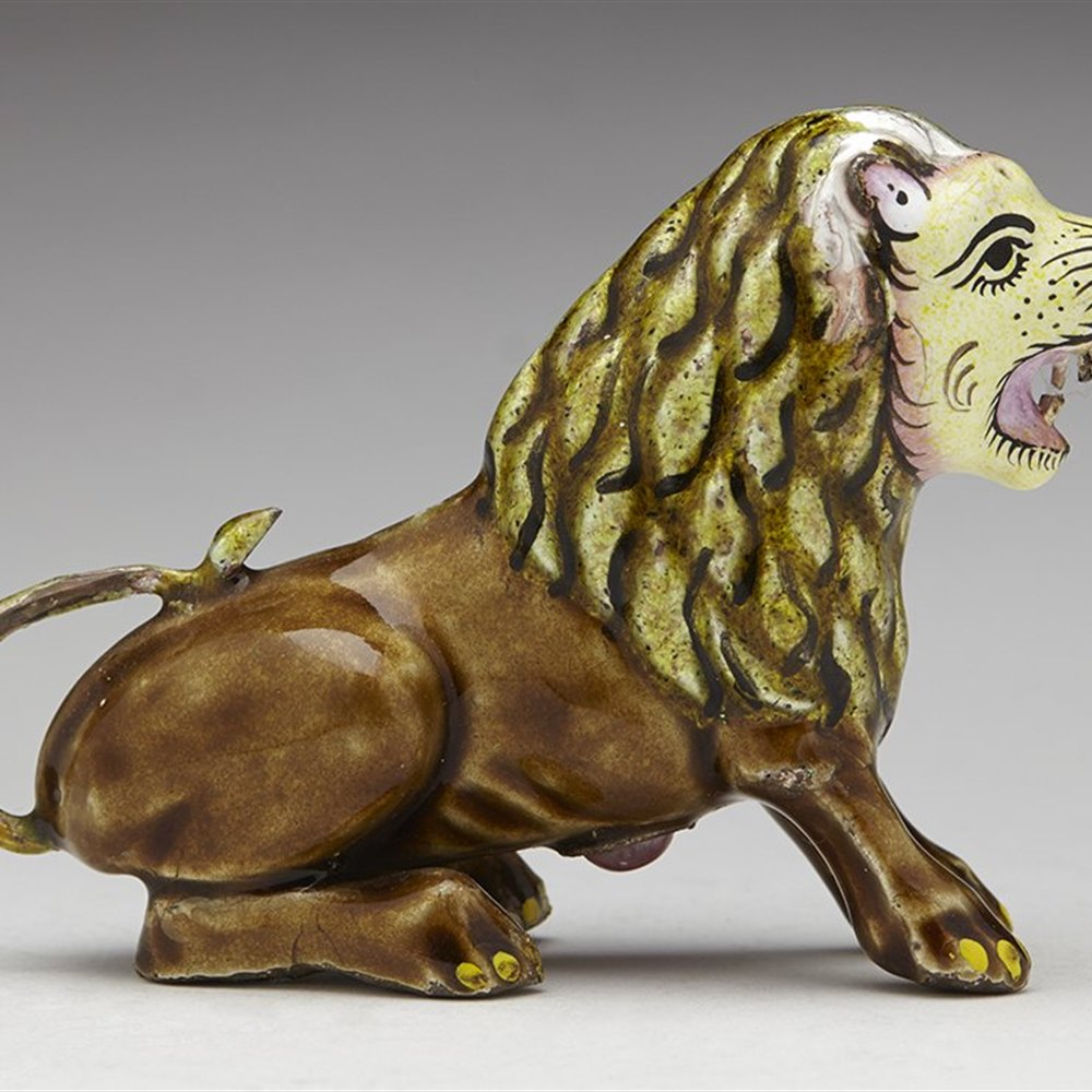 Vintage Indian Jaipur Enamelled & Jewelled Silver Lion Figure Early 20th C.