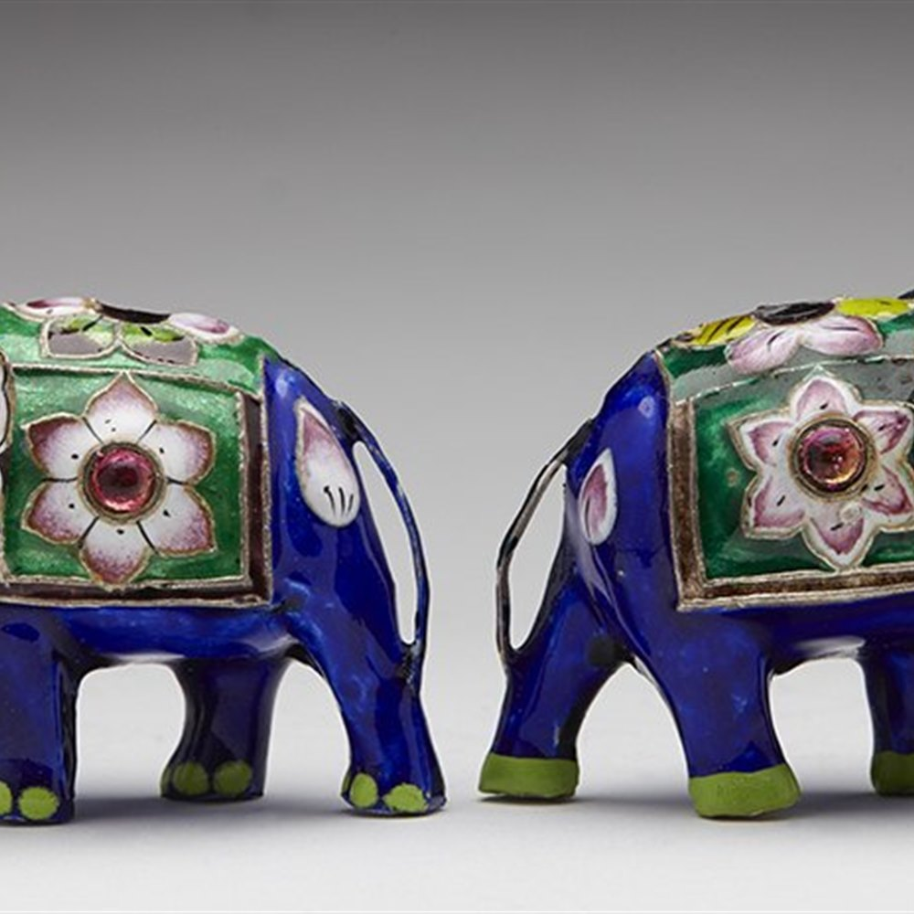 SILVER ELEPHANT FIGURES 20TH C. Early to mid 20th century