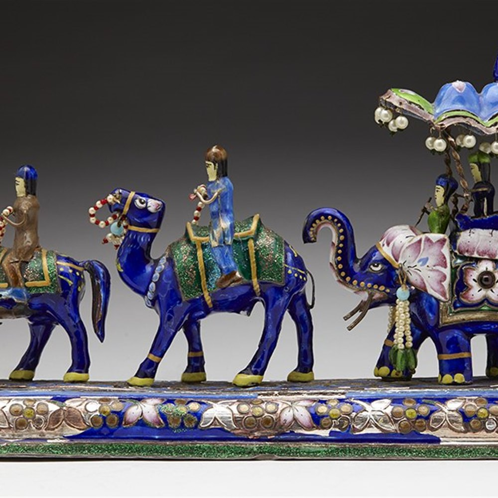 ENAMELED MAHARAJA'S PROCESSION Early to mid 20th century