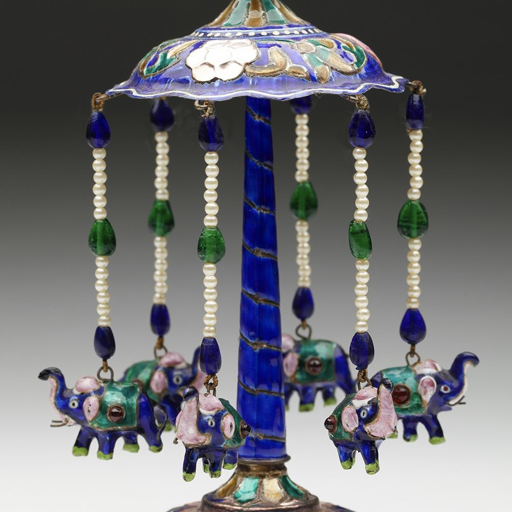 INDIAN ENAMELED CAROUSEL Early to mid 20th century