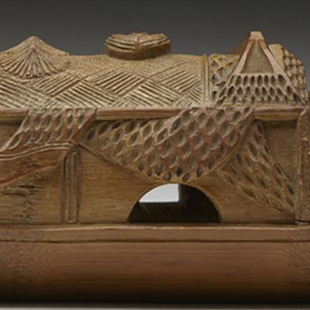 Stunning Antique Chinese Carved Bamboo Boat Brush Holder 19th C.