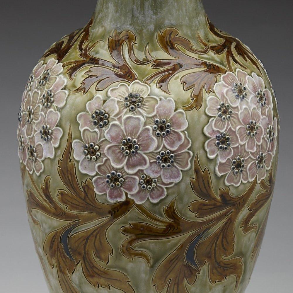 Exceptional Doulton Lambeth Floral Design Vase By Eliza Simmance c.1895