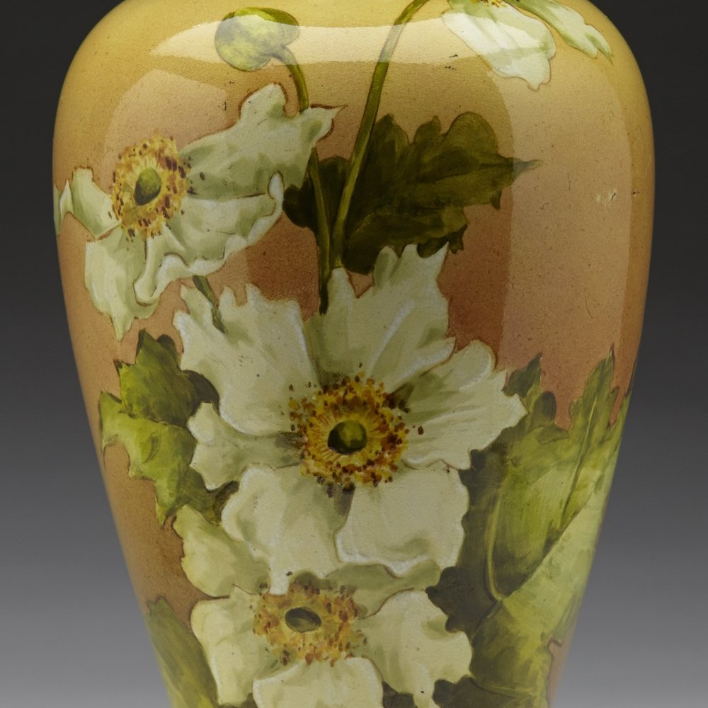Elegant Doulton Lambeth Floral Faience Vase c.1880