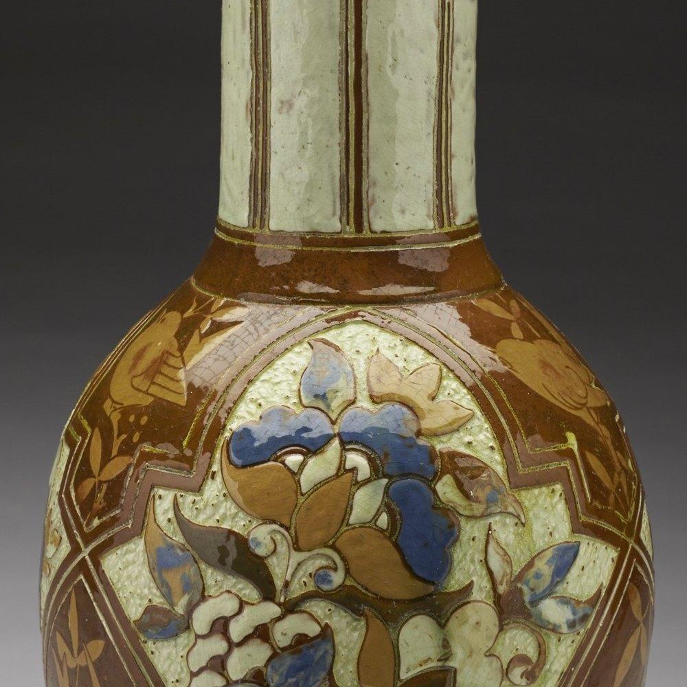 Rare Large Antique CH Brannam Art Pottery Vase James Dewdney 1887