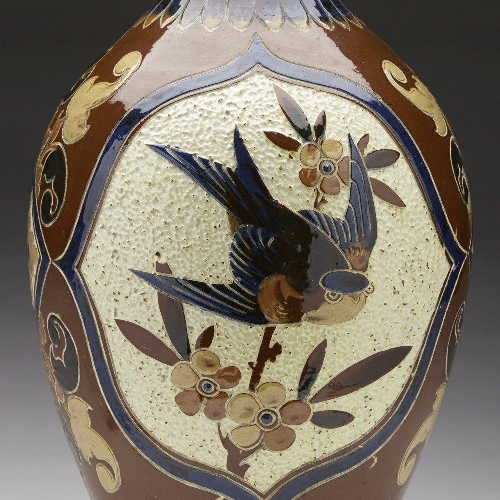 Rare Large Antique CH Brannam Art Pottery Vase William Baron 1891
