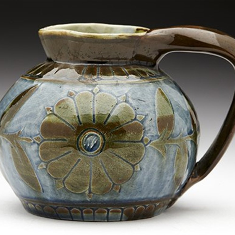 Early Antique Charles Brannam Sgraffito Art Pottery Jug 1881