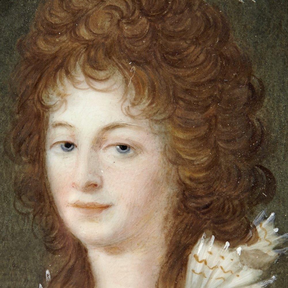 Superb Frames & Signed Antique Miniature Portrait Of A Lady 18th C.