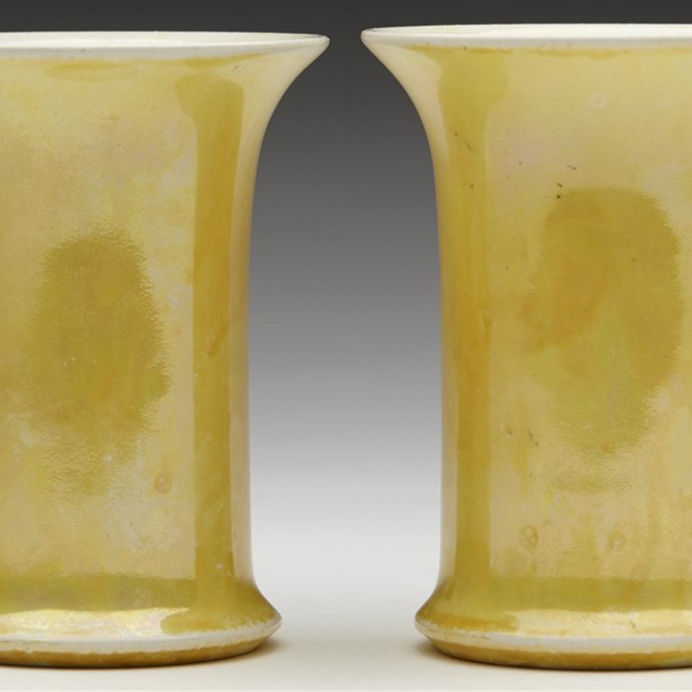 Superb Pair Ruskin Yellow Lustre Vases Dated 1922