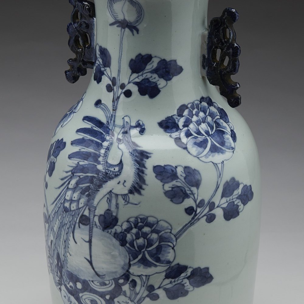 Stunning Antique Chinese Blue Painted Celadon Ground Vase 19th C.