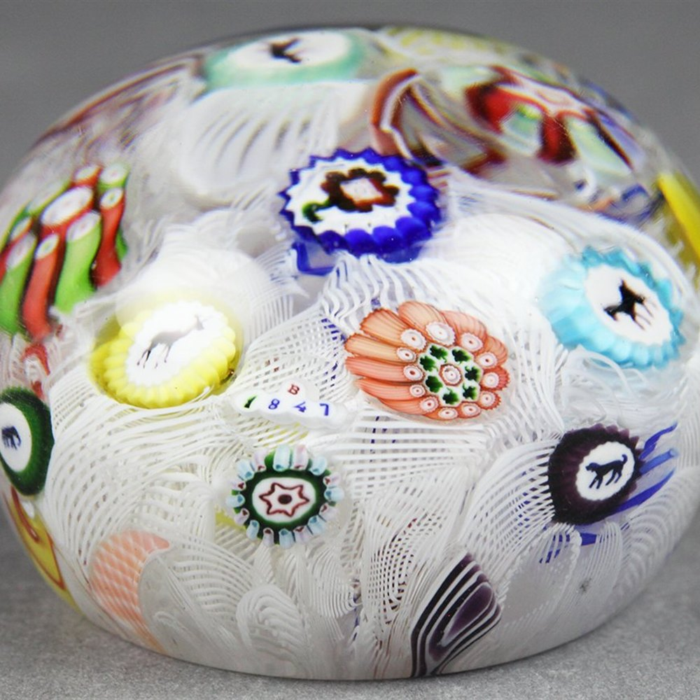 Rare Antique Baccarat Spaced Millefiori Animal & Man Can Paperweight Dated 1847
