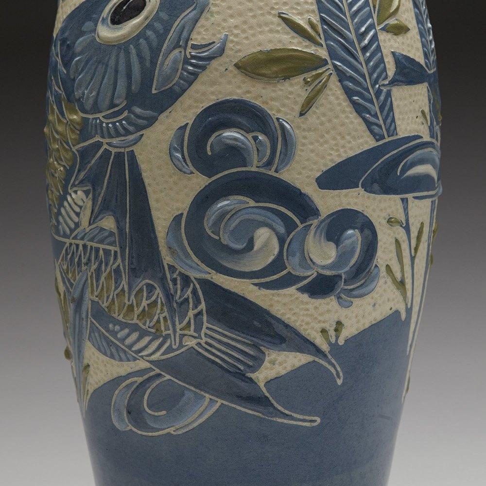 WILLIAM BARON SGRAFFITO FISH VASE Circa 1900