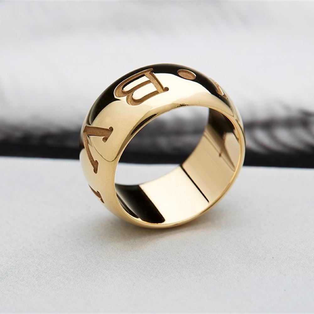 Bvlgari (or Bulgari)18K Yellow Gold Monologo Ring Size 54