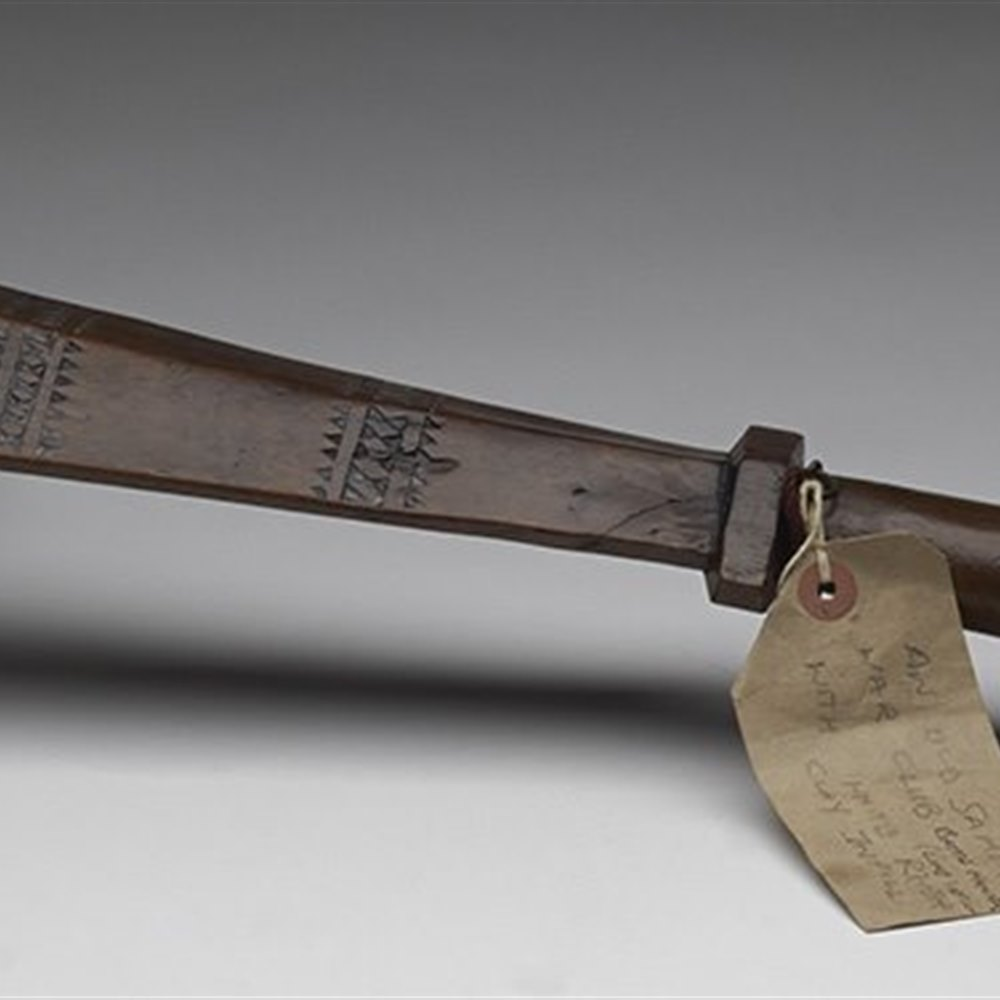 Exceptional Antique Samoan Wooden War Club With Inset Clay Designs c.1900