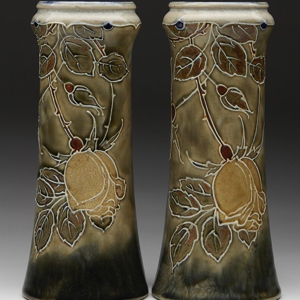 Fine Pair Doulton Lambeth Art Nouveau Floral Tube Lined Vases c.1905