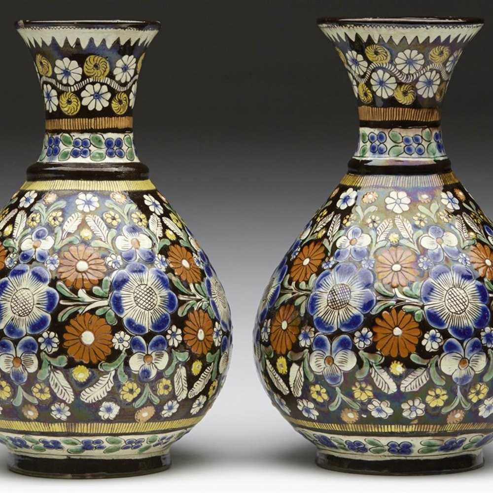 THOUNE MAJOLICA VASES 19TH C. Late 19th Century