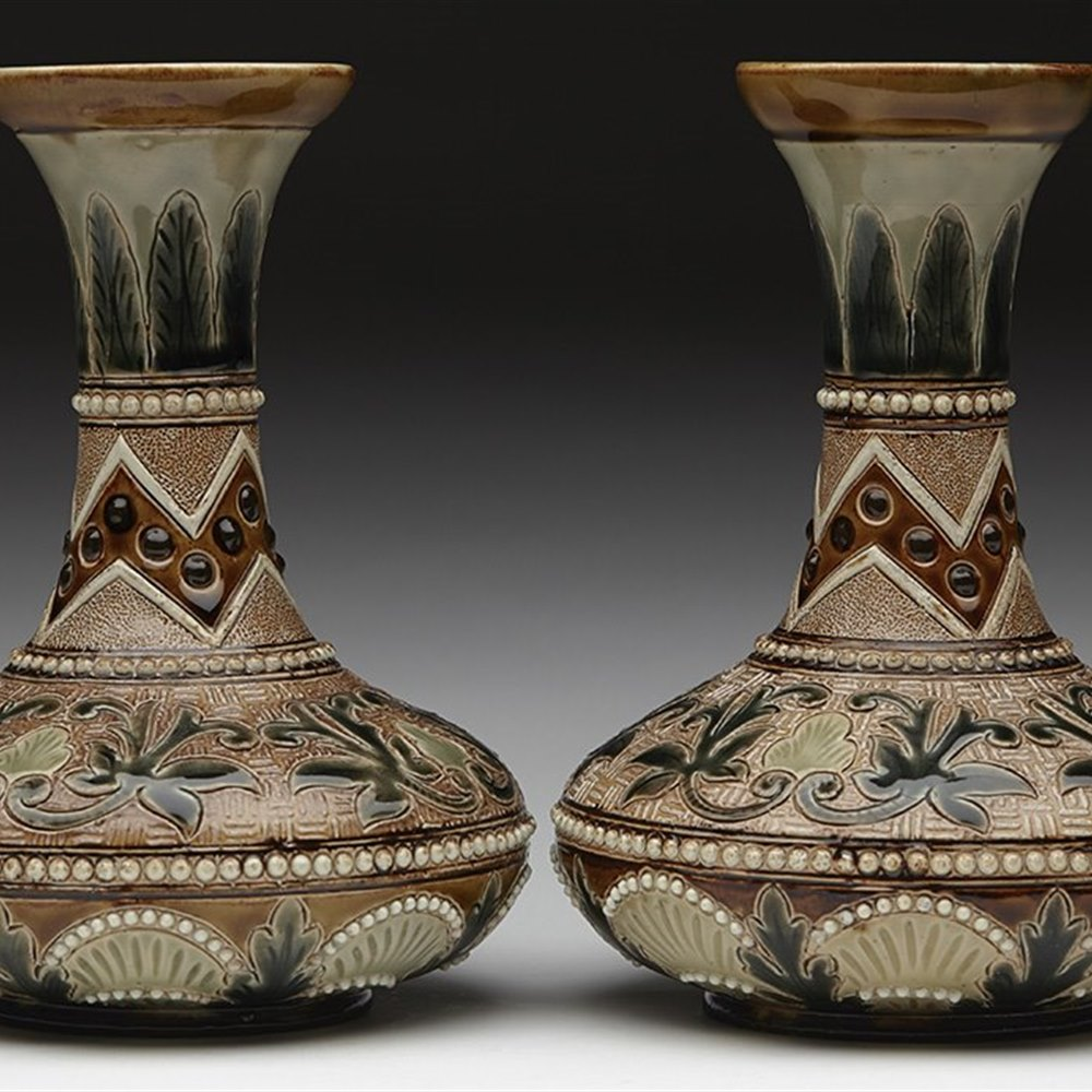 DOULTON LAMBETH VASES 1884 Dated 1884