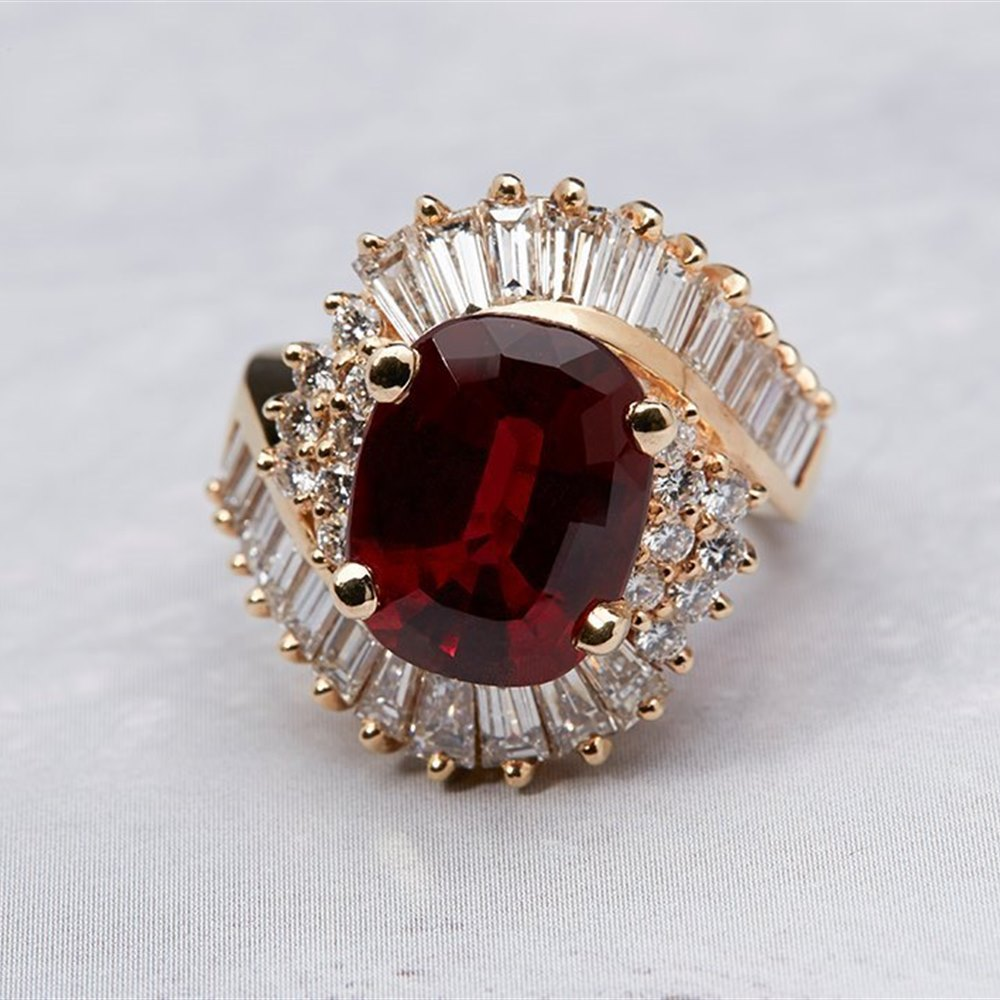 14K Yellow Gold  14K Yellow Gold 8.15 cts Rubellite Tourmaline & Diamond Ring