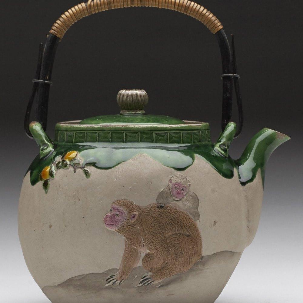 Rare Antique Japanese Banko Teapot With Monkeys & Peaches c.1900