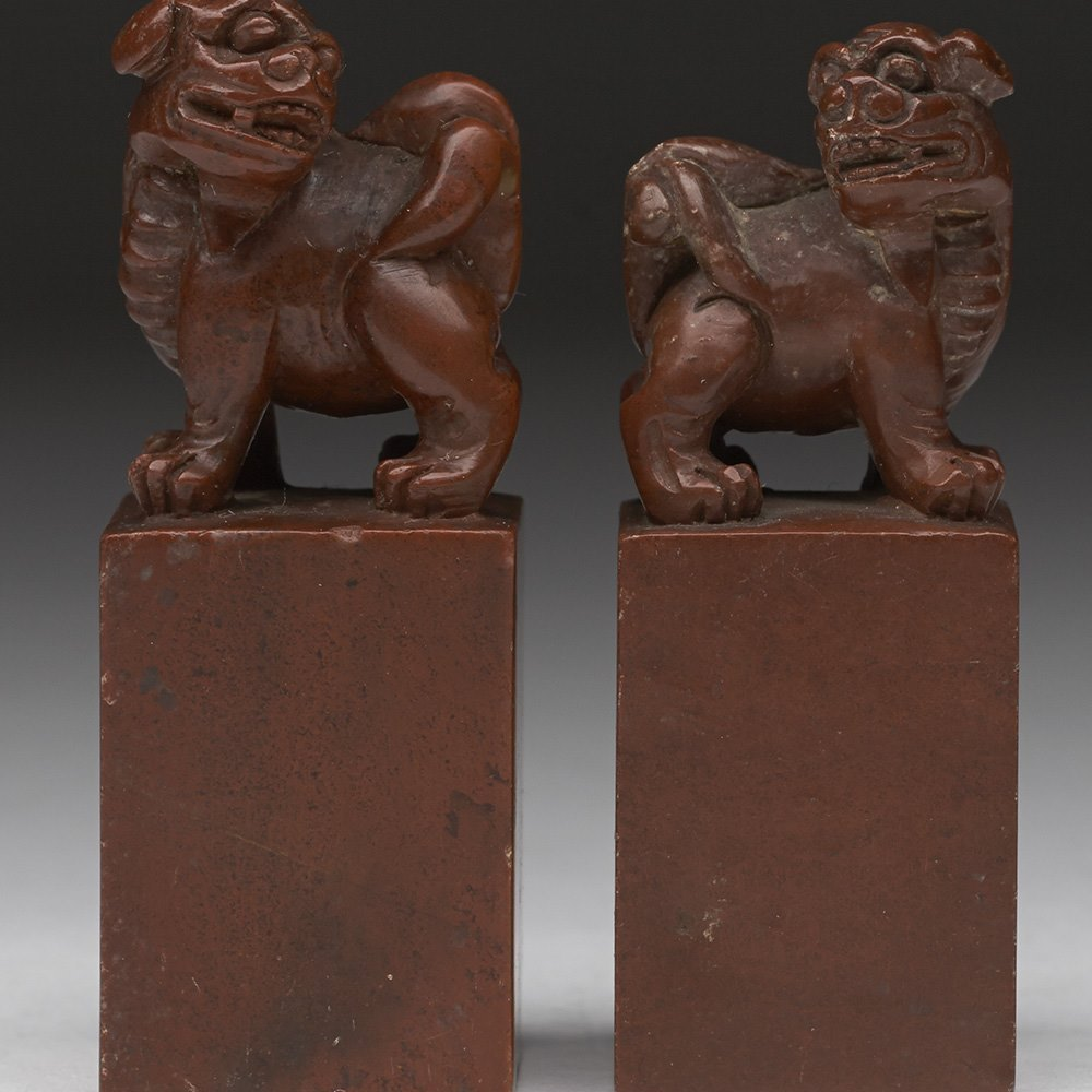 Fine Antique Chinese Pair Lion Dog Seals Ex.Spencer Althorp 19th C.