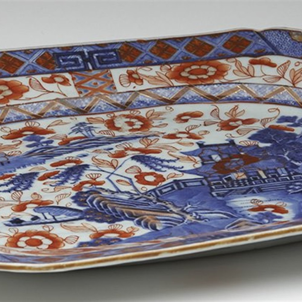 Superb Antique Chinese Qianlong Overpainted Blue & White Serving Dish 18th C.