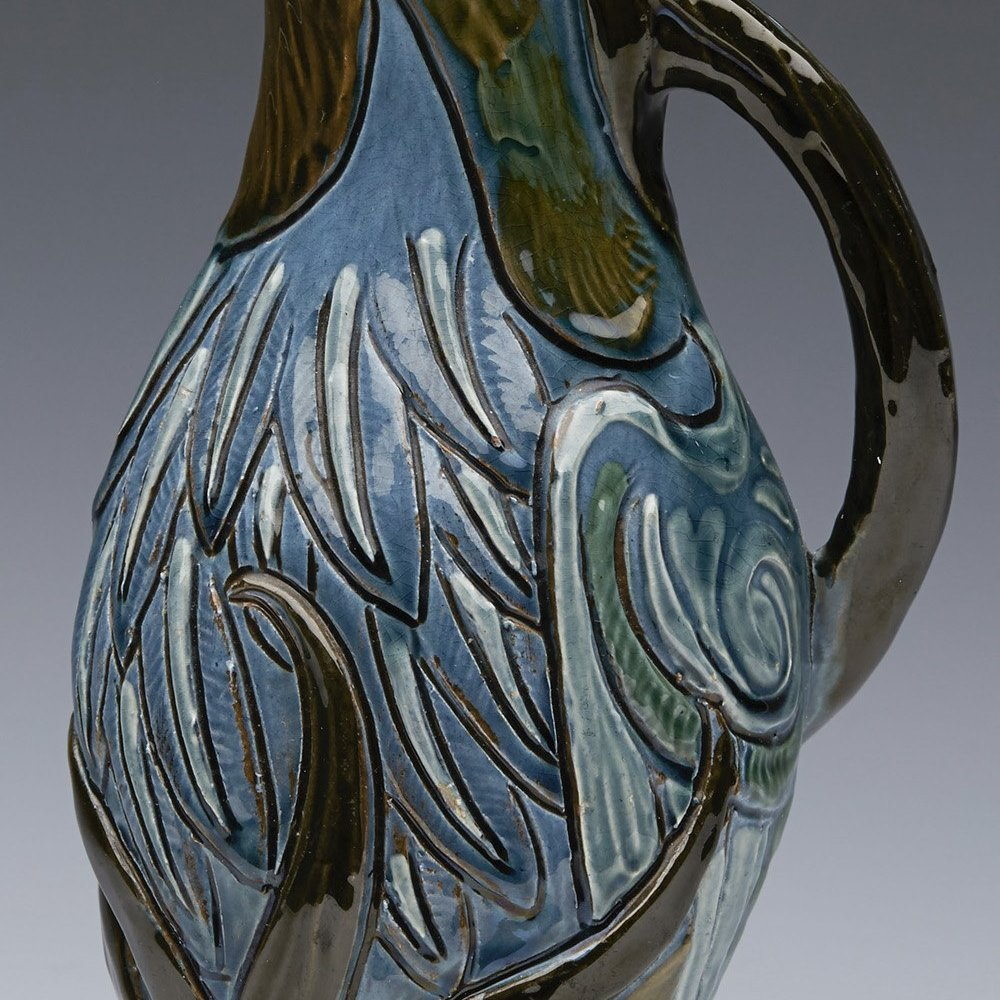 Suberb Charles Brannam Art Pottery Grebe Jug By Frank Thomas Dated 1898