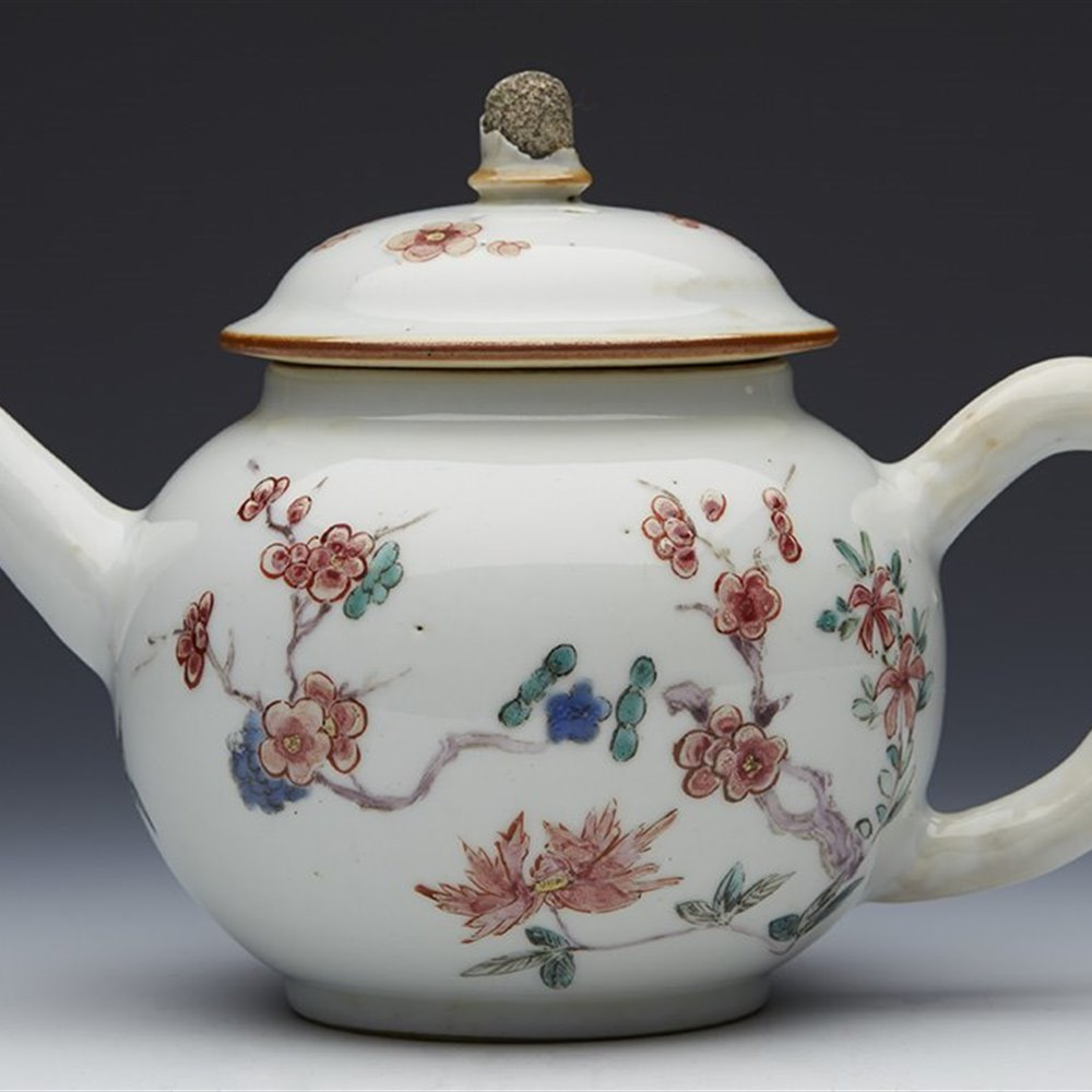 Superb Antique Chinese Flowering Hawthorn Polychrome Teapot 18th C.