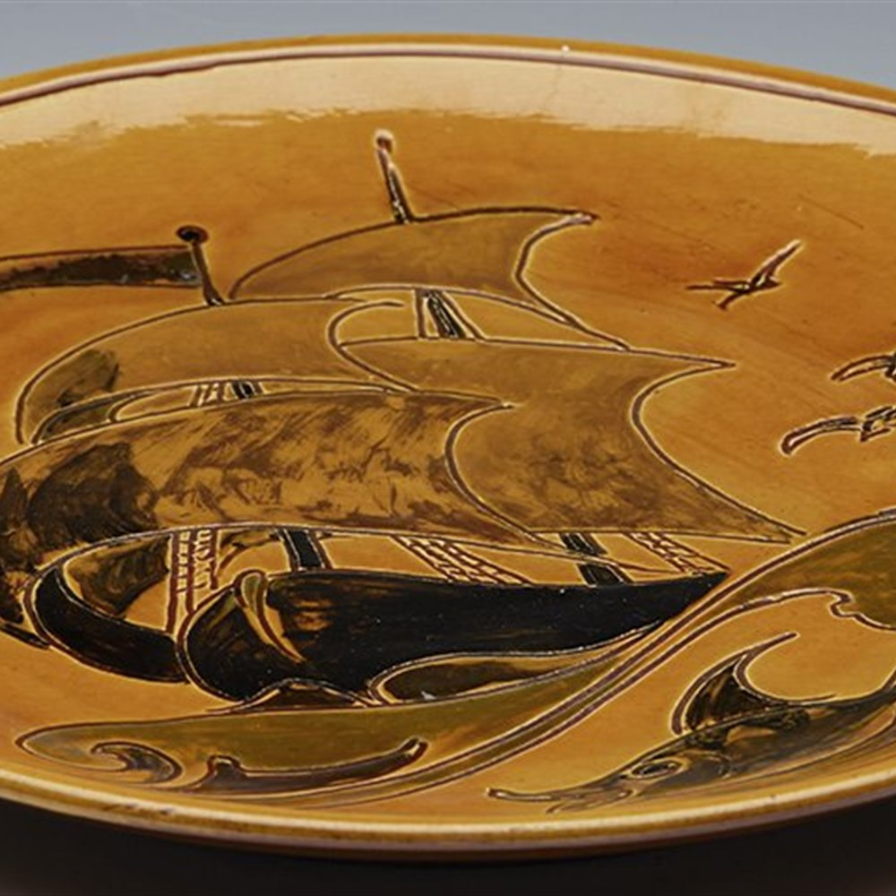 Superb William Baron Art Pottery Plaque With Galleon & Dolphin c.1900